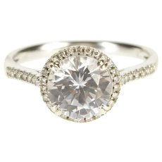 14K 2.15 Ctw Round Moissanite Halo Engagement Ring Size 7 White Gold [QRQX]