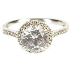 14K 2.15 Ctw Round Moissanite Halo Engagement Ring Size 7 White Gold [QRXP]