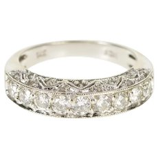 14K 1.20 Ctw Ornate Diamond Encrusted Wedding Band Ring Size 7 White Gold [QWQX]