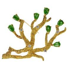 18K Exquisite Jade Diamond Coral Reef Ornate Pin/Brooch Yellow Gold [QRQX]
