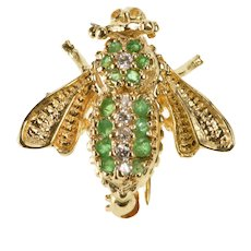 14K 0.20 Ctw Ornate Honey Bee Bumble Bee Fly Pin/Brooch Yellow Gold  [QWQQ]