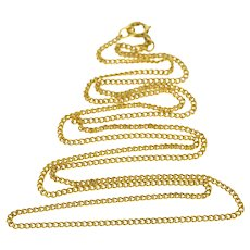 """14K 1.7mm Classic Curb Link Fancy Chain Necklace 23.5"""" Yellow Gold  [QWQQ]"""