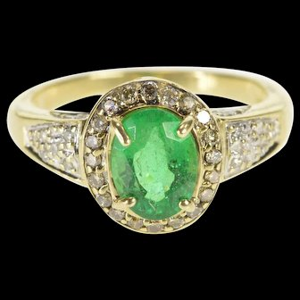 14K 1.48 Ctw Oval Emerald Diamond Engagement Ring Size 7 Yellow Gold [QWQQ]