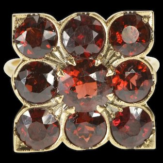 10K 5.40 Ctw Retro Ornate Garnet Squared Cocktail Ring Size 8.75 Yellow Gold [QWQQ]