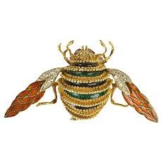 18K Modele Depose Diamond Enamel Honey Bee Fly Pin/Brooch Yellow Gold  [QWQC]
