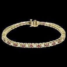"14K 5.75 Ctw Ruby Diamond Encrusted Ornate Tennis Bracelet 7"" Yellow Gold  [QWQC]"