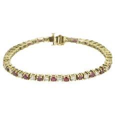 "14K 5.75 Ctw Ruby Diamond Encrusted Ornate Tennis Bracelet 7"" Yellow Gold [QRXP]"