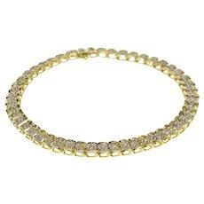 5633441e8fabf8 10K 0.50 Ctw Diamond Curved Bar Link Tennis Bracelet 7.25