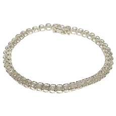 "10K 1.40 Ctw Diamond Squared Link Tennis Bracelet 7"" White Gold  [QWQC]"