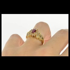 14K 1.04 Ctw Oval Ruby Diamond Halo Engagement Ring Size 8.25 Yellow Gold [QWQC]