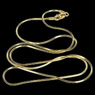 """14K 1.1mm Pressed Squared Snake Chain Link Necklace 19.75"""" Yellow Gold [QRXP]"""