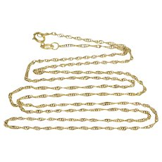 """14K 1.3mm Rolling Curb Link Spiral Chain Necklace 19.75"""" Yellow Gold  [QWQQ]"""