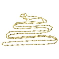 """14K 0.6mm Curb Rolling Spiral Link Chain Necklace 17.75"""" Yellow Gold  [QWQQ]"""