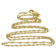 """14K 1.2mm Curb Link Rolling Spiral Chain Necklace 17.75"""" Yellow Gold  [QWQQ]"""