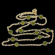 """14K Nephrite Jade 1.4mm Cable Link Spiral Chain Necklace 16"""" Yellow Gold [QRXP]"""