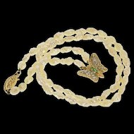 """14K Diamond Emerald Butterfly Blister Pearl Necklace 16.5"""" Yellow Gold [QRXP]"""