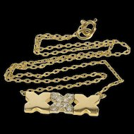 "14K XXX Hugs & Kisses Diamond Anniversary Gift Necklace 15"" Yellow Gold [QRXP]"