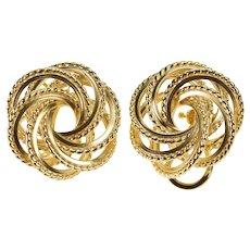 14K Retro Ornate Circle Twist French Clip Back Earrings Yellow Gold  [QWQQ]