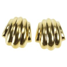 14K Scalloped Puffy Retro Ornate Fashion Clip On Earrings Yellow Gold  [QWQQ]