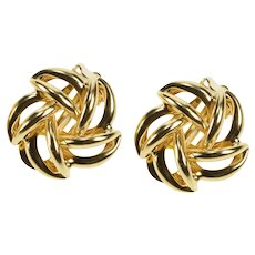 14K Retro Floral Spiral Design Clip Back Fashion Earrings Yellow Gold  [QWQQ]