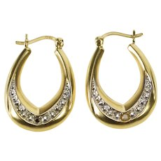 10K Two Tone Oval Diamond Accent Fashion Hoop Earrings Yellow Gold [QRQX]