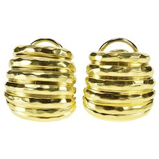 18K Ornate Retro Textured Grooved French Clip Earrings Yellow Gold  [QWQQ]