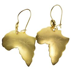 18K Africa Etched African Liberian Tree Dangle Earrings Yellow Gold  [QWQQ]