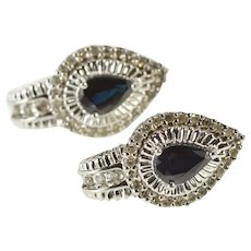 14K Pear Sapphire Diamond Halo Fashion Stud Earrings White Gold [QRQX]