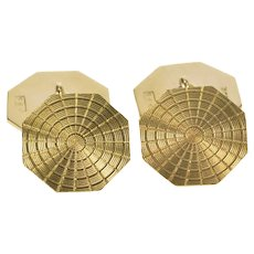 10K Retro Spider Web Dart Board Design Cuff Links Yellow Gold [QRQX]