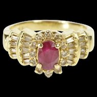 14K 1.04 Ctw Oval Ruby Diamond Halo Engagement Ring Size 8.25 Yellow Gold [QRXP]