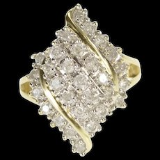 10K 1.00 Ctw Curvy Wavy Diamond Cluster Fashion Ring Size 6.75 Yellow Gold [QWQC]