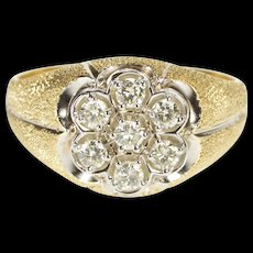 14K 0.50 Ctw Diamond Retro Cluster Textured Ring Size 9.75 Yellow Gold [QWQC]