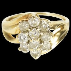 10K 1.00 Ctw Oval Diamond Cluster Ornate Fashion Ring Size 6.75 Yellow Gold [QWQC]