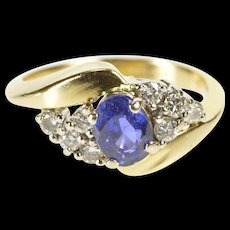 14K 1.10 Ctw Sapphire Diamond Cluster Engagement Ring Size 5.5 Yellow Gold [QWQC]