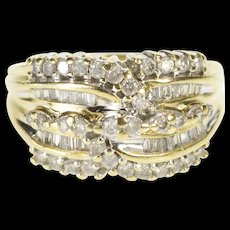 10K 1.00 Ctw Ornate Diamond Encrusted Fashion Ring Size 5.75 Yellow Gold [QWQC]