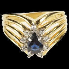 14K .80 Ctw Pear Sapphire Diamond Halo Chevron Ring Size 6.75 Yellow Gold [QWQC]