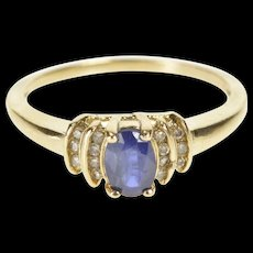 10K 0.57 Ctw Oval Sapphire Diamond Engagement Ring Size 6.75 Yellow Gold [QWQC]