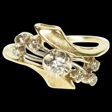 14K 0.18 Ctw Ornate Retro Diamond Bypass Fashion Ring Size 5.5 Yellow Gold [QWQC]
