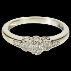 10K 0.25 Ctw Diamond Floral Cluster Engagement Ring Size 5.5 White Gold [QWQC]