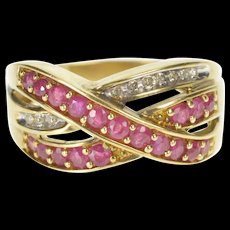10K 0.65 Ctw Ruby Diamond Bypass Tiered Band Ring Size 7 Yellow Gold [QWQC]