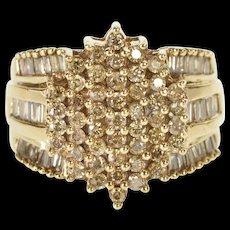 10K 2.00 Ctw Oval Diamond Cluster Fashion Ring Size 7.25 Yellow Gold [QWQC]
