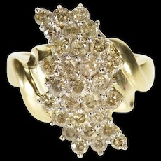 10K 1.50 Ctw Curvy Diamond Ornate Statement Ring Size 7.25 Yellow Gold [QWQC]