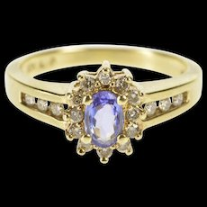 10K 0.55 Ctw Tanzanite Diamond Halo Engagement Ring Size 6.75 Yellow Gold [QWQC]