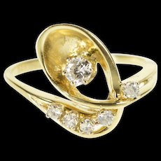 14K 0.35 Ctw Ornate Retro Diamond Loop Cluster Ring Size 7.25 Yellow Gold [QWQC]