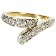 14K 0.35 Ctw Diamond Encrusted Bypass Band Ring Size 3.25 Yellow Gold [QRQX]