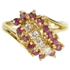 14K 0.72 Ctw Retro Diamond Ruby Halo Cluster Ring Size 6 Yellow Gold [QWQC]