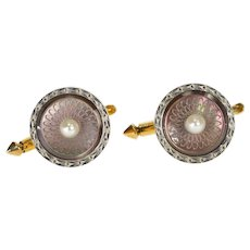 14K Ornate Art Deco Pearl Mother of Pearl Cuff Links Yellow Gold  [QWQC]