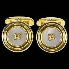 18K Mother of Pearl Ornate Button Design Cuff Links Yellow Gold  [QWQC]