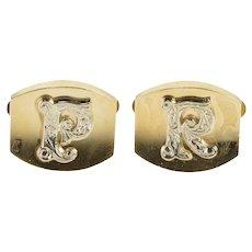 10K RP PR Monogram Ornate Etched Initial Cuff Links Yellow Gold [QRQX]