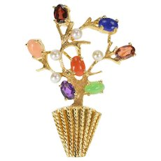 14K Retro Gemstone Pearl Floral Tree Bouquet Ornate Pin/Brooch Yellow Gold [QRQX]
